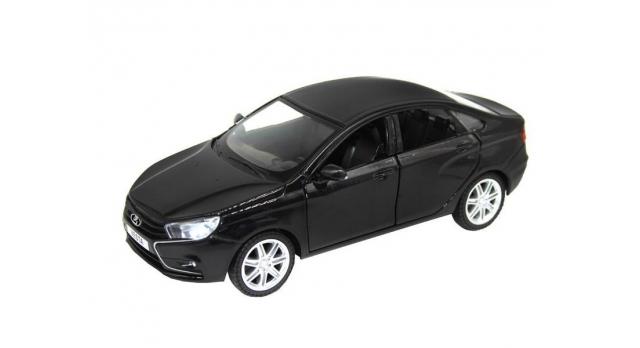 Машина &quotАВТОПАНОРАМА&quot LADA VESTA седан, 1/24,  черный металлик, свет, звук, в/к 24,5*12,5*10,5 см 1