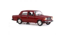 Машина &quotАВТОПАНОРАМА&quot ВАЗ 2107, 1/24, бордовый, инерция, в/к  24,5*12,5*10,5 см 1