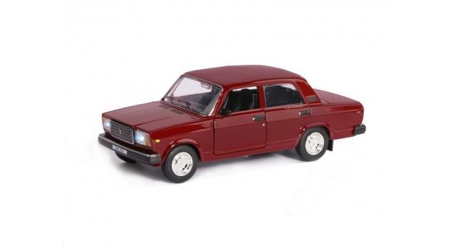 Машина &quotАВТОПАНОРАМА&quot ВАЗ 2107, 1/24, бордовый, инерция, в/к  24,5*12,5*10,5 см 2