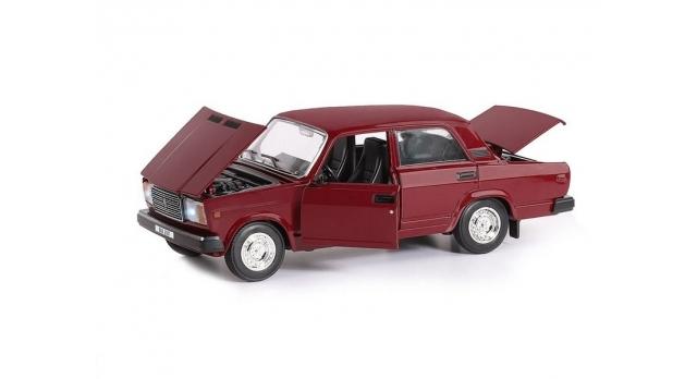 Машина &quotАВТОПАНОРАМА&quot ВАЗ 2107, 1/24, бордовый, инерция, в/к  24,5*12,5*10,5 см 5