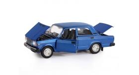 Машина &quotАВТОПАНОРАМА&quot ВАЗ 2107, 1/24, синий, инерция, в/к 24,5*12,5*10,5 см 4