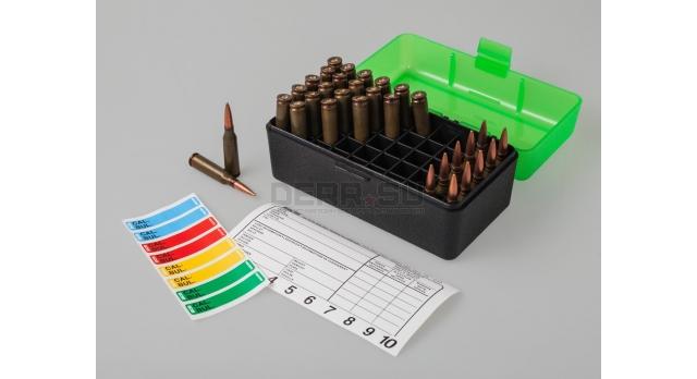 MTM Case Gart P50 / Чёрный с прозрачной зелёной крышкой для 7,62х39-мм и прочих с общей длинной до 63-мм [RS-S-50-16T]