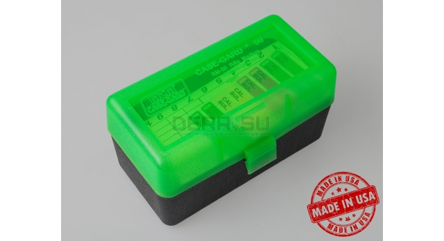 MTM Case Gart P50 / Чёрный с прозрачной зелёной крышкой для 7,62х39-мм и прочих с общей длинной до 77-мм [RM-50-16T]