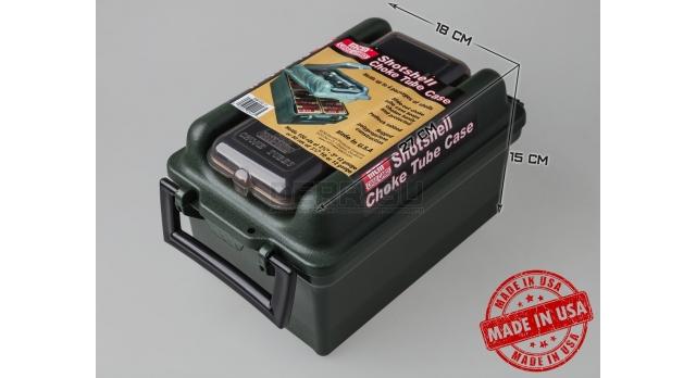 Влагозащищённый кейс для патронов 12 калибра с боксом для чоков MTM / Зелёный [SW100-11]