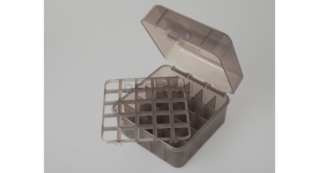 Коробка для патронов 12,16 и 20 калибров MTM Полупрозрачная серая [S25D-41]