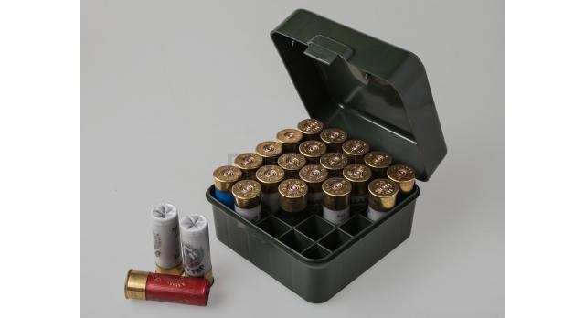 Коробка для патронов 12,16 и 20 калибров MTM Зелёная [S25D-11]