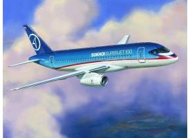 Сборная модель ZVEZDA Региональный пассажирский авиалайнер Superjet 100, подарочный набор, 1/144 1