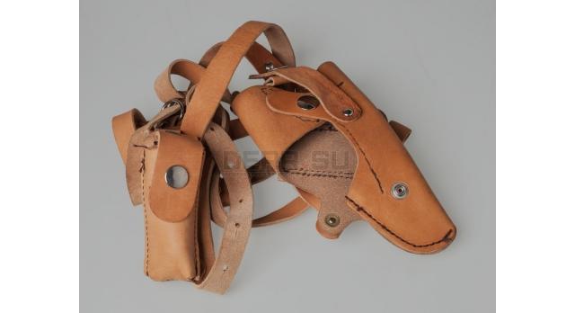 Оперативная кобура ПСМ / Оригинал коричневая кожа с подсумком под второй магазин [сн-320]