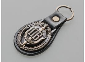 Брелок «Погранвойска» КГБ-ФСБ /  Натуральная кожа, бляшка - чернёная литой бронзы [нг-72]